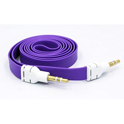 Purple Flat Aux Cable Car Stereo Wire Audio Speaker Cord 3.5