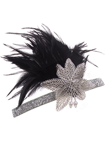 Black Flapper Adult Costumes Headpiece (Vijiv Vintage Black Silver 20s Headpiece Flapper Headband 1920s Great Gatsby)