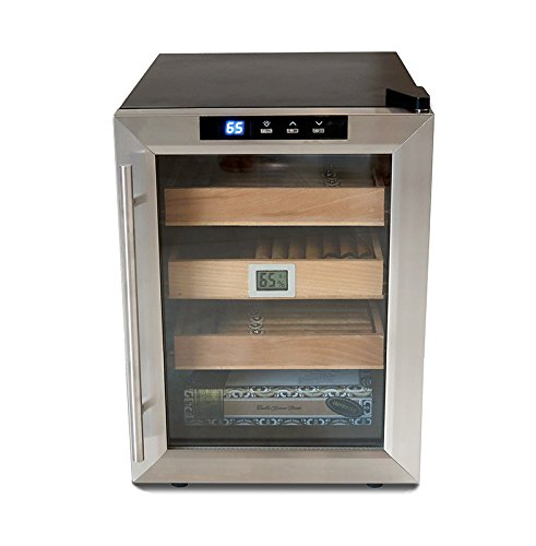 The Clevelander Thermoelectric Cigar Humidor Cooler - Color: Black w/ Stainless Steel Door (Humidor Cabinet)