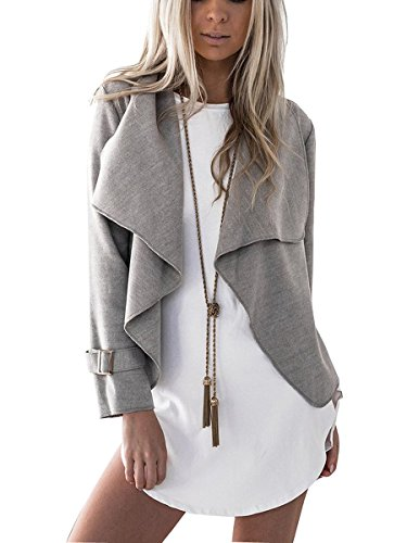 Buckle Front Jacket (Sophieer Girls Flattering Fall Winter No Buckle Open-front DrapeJacket Top Grey S)