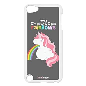 Head Case Designs Long Unicorn Rainbow Puke Design Back Case Cover TPU Phone case cover for ipod 5,white