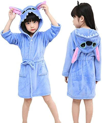 Baby Kid Boy Girl Disney Warm Pajamas Hooded Bath Robe Sleepwear Dressing Gown