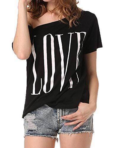 LEANO Women Casual Summer Slash Neck Short Sleeve Letter T-Shirt Knits & Tees Black ()