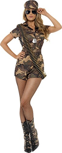 Smiffy's Women's Army Girl Sexy Costume with Short Jumpsuit Belt and Hat, Multi, Medium (Army Ladies Costume)