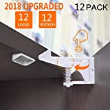 KEKAI Child Safety Locks UPGRADED, Baby Safety Cabinets Latches Locks, Baby Proofing Cabinets System, Magnetic Cabinet Locks 12 Packs, Easy to Install, No Tools or Drilling Needed - White