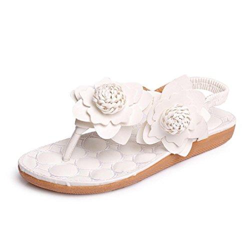 Koly Women's Fashion Sweet Summer Bohemia Beaded Sandals Clip Toe Sandals Beach Shoes (EU 40, White 2)