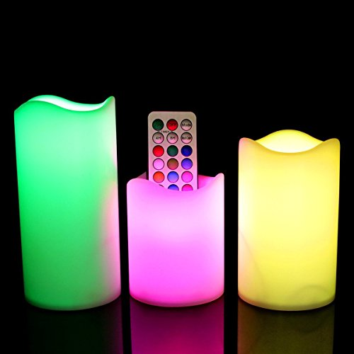 Set of 3 Flameless LED Candle RGB Remote with Timer and 7 Colour 12 Changing Battery Powered(AAA) LED (Heart White Candle Set)