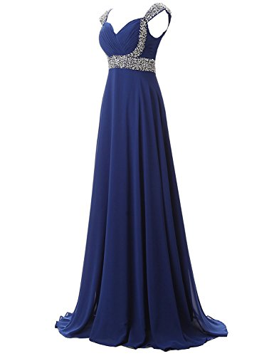 Belle Long Chiffon Celebrity Women's Sd179 House Gown Blue royal Evening Beaded Dresses Prom rxSEBxtq
