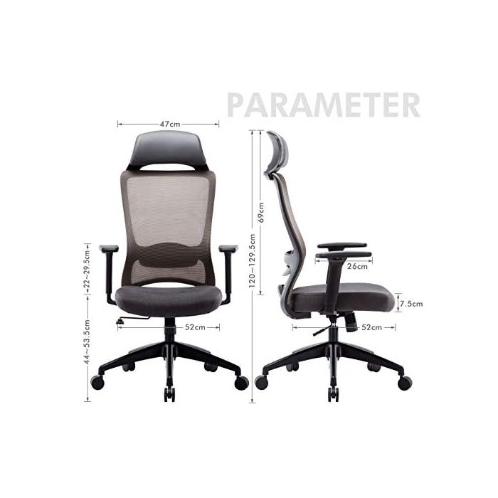 41Fzzh2zGDL ✔ Respaldo Ergonómico: El diseño de malla hace que el respaldo de silla sea transpirable, es más conveniente para usar en verano. La silla ergonómica de oficina con soporte lumbar, reposabrazos ajustables y reposacabeza para hacerle disfrutar más después del trabajo. ✔ Asiento Transpirable: El asiento acolchado es grueso y tiene buena elasticidad. Hecho de esponja gruesa de alta calidad y malla transpirable. No hace que el cuerpo se siente caliente, mantenga sus nalgas y piernas libres de sudor. ✔ Múltiples Ajustes: Los controles neumáticos facilitan subir o bajar el asiento, a través de sacar el asa puede realizar el modo de giro, puede inclinar el respaldo conjunto con asiento por pequeño ángulo, los brazos de 3D son ajustables con la altura, además puede realizar el ajuste de poco ángulo de dirección paralela.