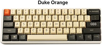 NPKC OEM PBT Keycaps Vintage Style Duke Orange Laser,Etched for Cherry MX  Switches of Mechanical Keyboard(61,Key)