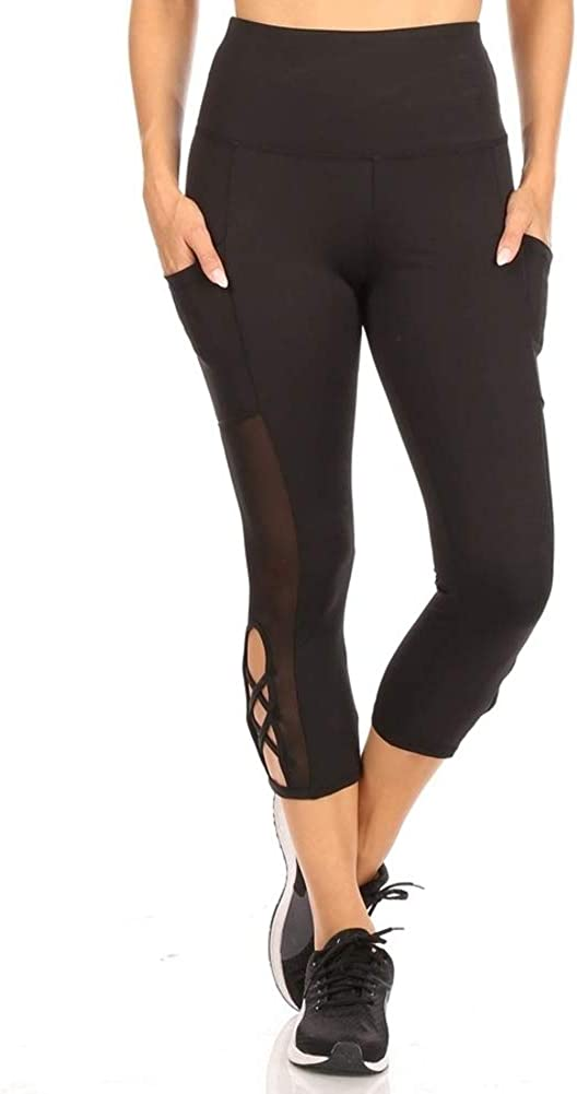 Shosho Womens Yoga Capris Sports Leggings Activewear Bottoms With Mesh And Criss Cross Straps