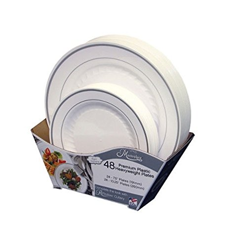 Masterpiece Plastic Plate Combo Pack, Large and Small, 48 Count from Masterpiece