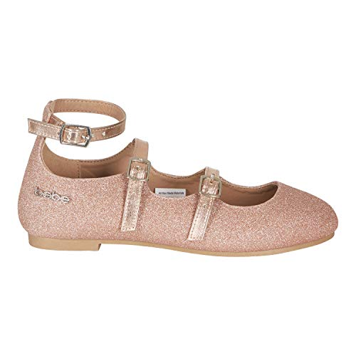 (bebe Girls Ballet Flats Size 13 with Glitter and Metallic Straps Rose)