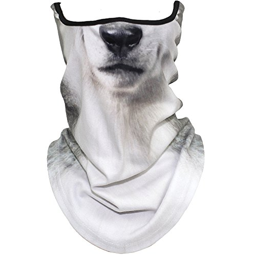 AXBXCX Animal 3D Prints Neck Gaiter Warmer Half Face Mask Scarf Windproof Dust UV Sun Protection for Skiing Snowboarding Snowmobile Halloween Cosplay Siberian Husky Dog (Snow Siberian Husky)