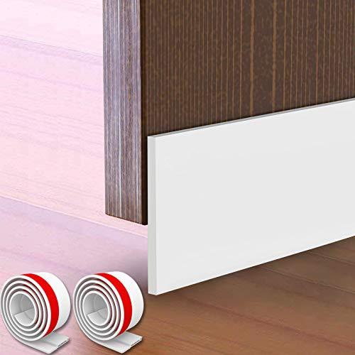 "2 Packs Large Gap Door Draft Stopper, 4"" W x 39"" L Under Door Bottom Seal for Garage Basement Exterior and Interior Doors -Solid White"