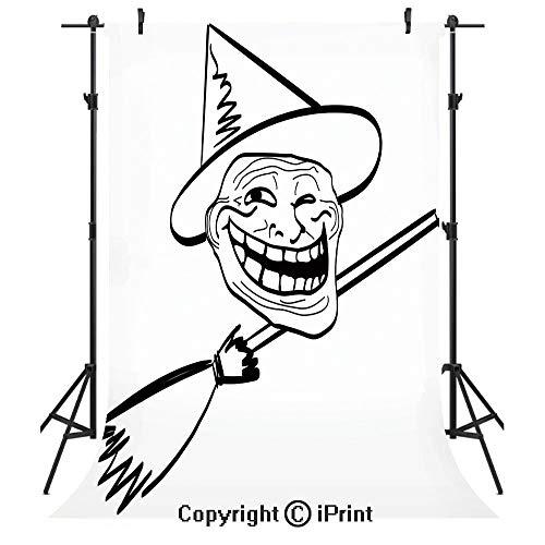 Humor Decor Photography Backdrops,Halloween Spirit Themed Witch Guy Meme LOL Joy Spooky Avatar Artful Image,Birthday Party Seamless Photo Studio Booth Background Banner 5x7ft,Black White