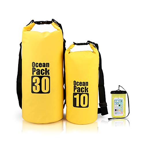 MESOCO Waterproof Dry Bags Set Floating Dry Backpack with Phone Case for Kayaking,Rafting,Boating,Camping,Hiking,Beach(Set of 2)