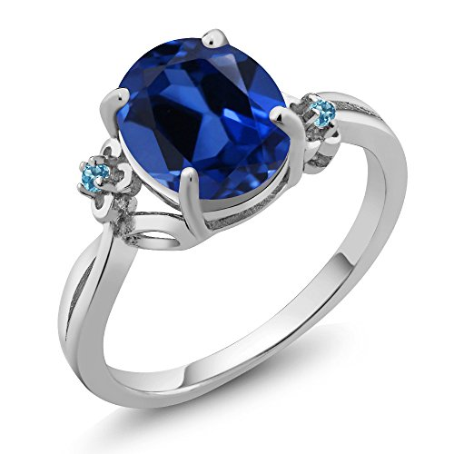 3.38 Ct Oval Simulated Sapphire Swiss Blue Simulated Topaz 14K White Gold Ring by Gem Stone King