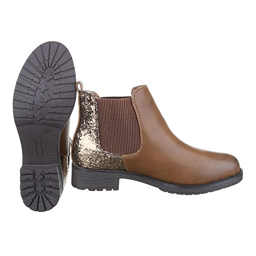 Ital-Design Chelsea Boots Damenschuhe Chelsea Boots Blockabsatz Blockabsatz Stiefeletten Camel W152