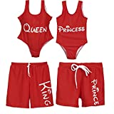 Mommy and Me Swimsuit Family Matching Mother Daughter King Queen Princess Prince Swimwear Bathing Suit (Red,Girls, 1T)