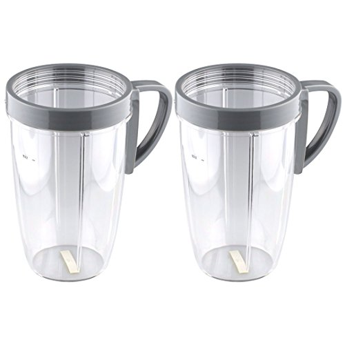 Ring Handled - 2 Pack NutriBullet 24 oz Tall Cups with Handled Lip Ring for NB-101