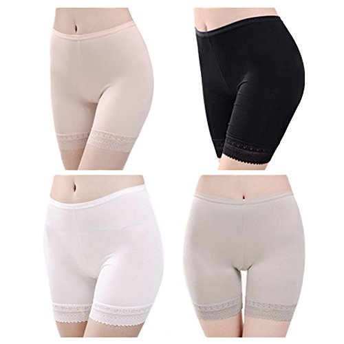 4-Pack Women Lace Trim Shorts Ladies Under Skirt Extra Large Modal Underwear by LONTG