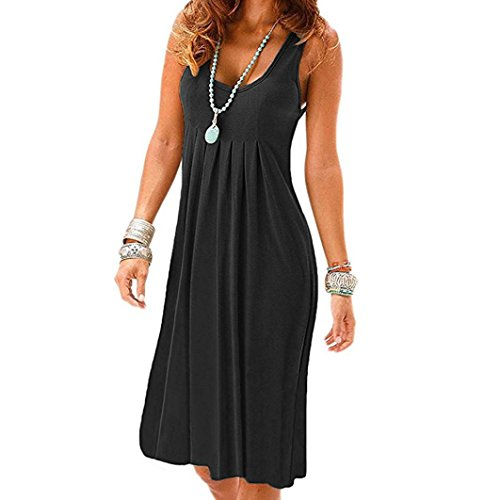Guesspower Femme Robe Chic Longue t Sexy Vintage Solid Sleeveless Col Rond Casual Plaine Plisse Mini-Robe Dcontracte Sundress Noir