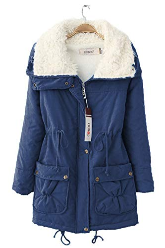 FOURSTEEDS Women's Military High-Neck Warm Winter Faux Fur Lined Parkas Anroaks Jacket Coats Navy Blue M (fits Like US 6)