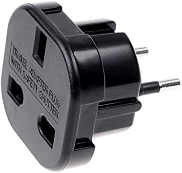 Adaptador de Enchufe de UK a Enchufe Europeo Negro, Cablepelado ...