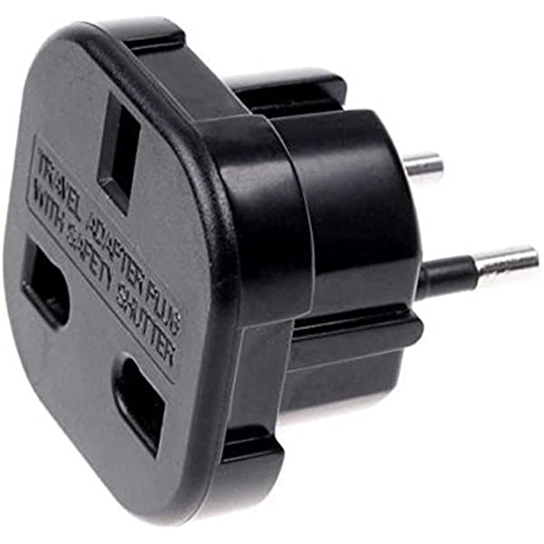 Adaptador de Enchufe de UK a Enchufe Europeo Negro, Cablepelado: Amazon.es: Electrónica