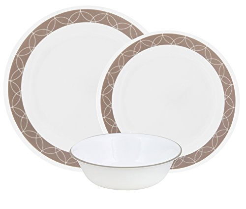 Corelle Livingware 24-Piece Dinnerware Set, Mystic Gray, Ser