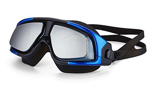 FEIUPE FP-8900 Premium Super Big Frame Prescription Swimming Goggle Prescription Swim Goggle Prescription Swim Mask Myopia Swimming Goggle for Nearsighted Swimmer (Blue/Black, -2.0)