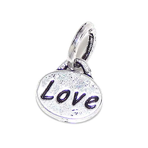 PJEWELRY Love Oval Dangle Bead Compatible with European Snake Chain Bracelets
