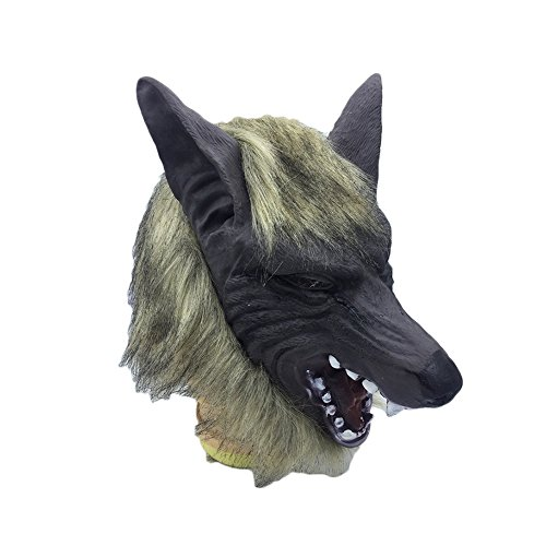 Outflower Halloween Novetly Mask Animal Latex Headset Lion Tiger Wolf Mask Prom Costume Party Mask]()