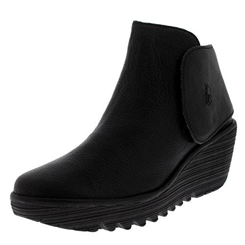Fly London Mujeres Yogi Mousse Zapatos De Cuña De Plataforma Botines De Cuero Mousse Negro