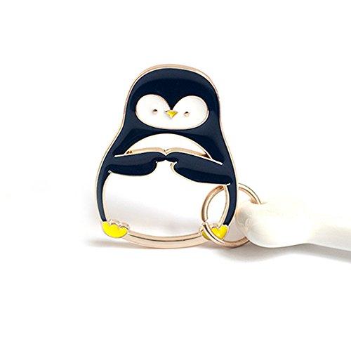 (Cute Polar Bear/Penguin Keychain Key Chain Metal Design with Extra 3 Key Rings Animal Keyring Car Bag)