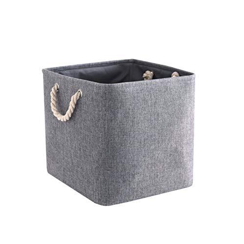 Mangata Fabric Storage Basket, Canvas Cube Storage Boxes 13 x 13 inch for Cupboards, Shelves, Closet, Grey(33x33x33cm, 1…