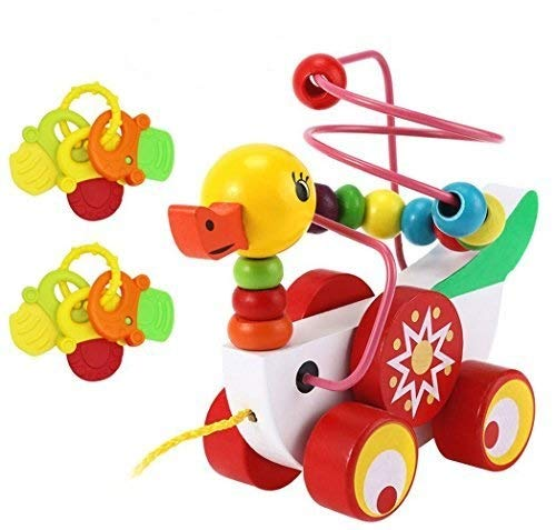Aimeio Bead Maze of Ducklings--Wooden Educational Toy Pull Along Toy Pull Cart Toy Sturdy String Developmental Toy for Babies Boys & Girls by Aimeio
