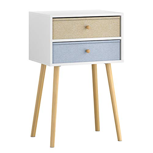 LANGRIA Bedside Table Nightstand End Table with Fabric Storage Drawer Pine Wooden Table for Bedroom Study and Fashion 15.7 x 11.7 x 22.4 inches (Yellow&Light Blue) ()