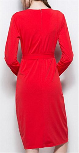Long Dress Neck Casual Split Crew Color Jaycargogo Womens Red Sleeve Solid xF17II