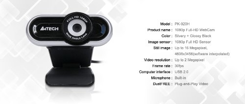 75cc9ccc96c A4Tech Full HD 1080p Webcam with Built-in Microphone (PK-920H-1):  Amazon.ca: Computers & Tablets