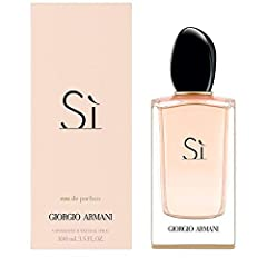 Armani Si for Women Eau De Parfum Spray 3.4 Oz / 100 Ml by Giorgio Armani. Ingredients -alcohol, parfum / fragrance, aqua / water, benzyl salicylate, benzyl alcohol, ethylhexyl methoxycinnamate, linalool, limonene, butyl methoxydibenzoylmetha...