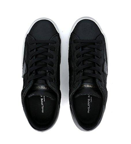 Stratificato Sneaker Model Modello Donna Philippe Paris Nero Pelle Doppio Di Taglio wt0aq