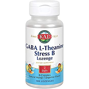 KAL GABA L-Theanine Stress B Lozenge | Healthy Relaxation, Mood & Focus Support | B Complex Vitamins | Natural Mango Tangerine Flavor | 100 Lozenges