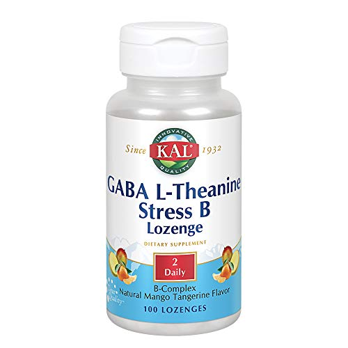 Chewable Kal Vitamins (Kal GABA L-theanine Stress B Mango Tangerine, 100 Count)