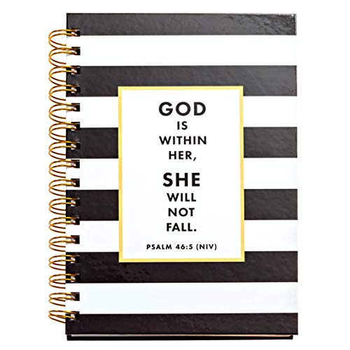 JennyM | Psalm 46:5 God is Within Her, She Will Not Fall, Black & White Stripe Christian Notebook, Journal, Bible Study, Guide, SOAP study, 142 Days of Scripture (Black And White Bible)