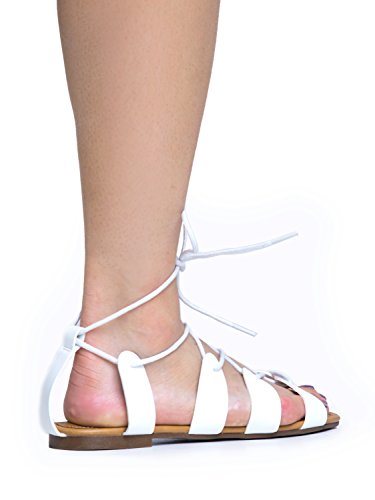Tie Gladiator Sandal Flat White Breckelles Lace Ankle Up Lace Breckelles Y0XfqY8