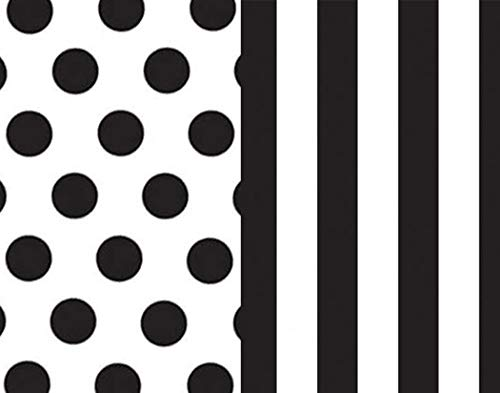 Black and White Gift Wrap Tissue Paper for All Occasions. 24-Pack Includes 12 Each of Polka Dot & Stripe Patterned Sheets. Premium Quality Large 20 x 30 ()