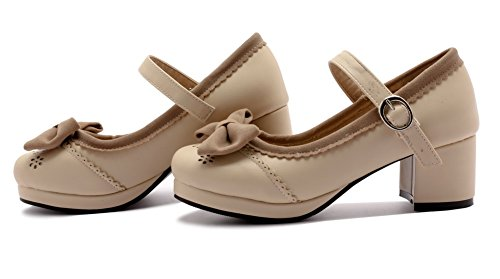 AllhqFashion Damen Rund Zehe Mittler Absatz PU Gemischte Farbe Schnalle Pumps Schuhe Aprikosen Farbe