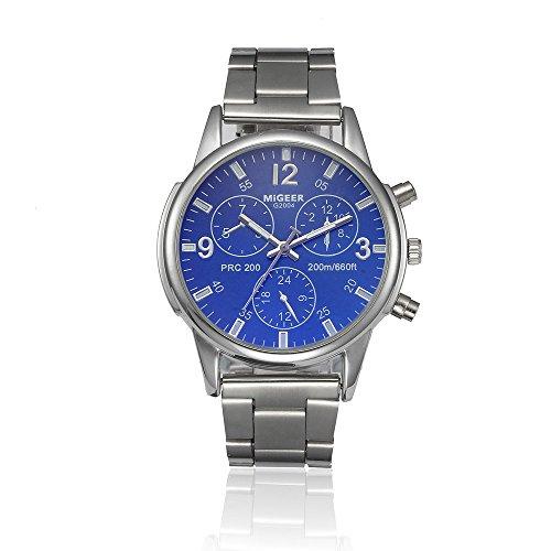 Han Shi Watch, Mens Fashion Crystal Stainless Steel Analog Quartz Wristwatch Simple Clock (Large, Blue)